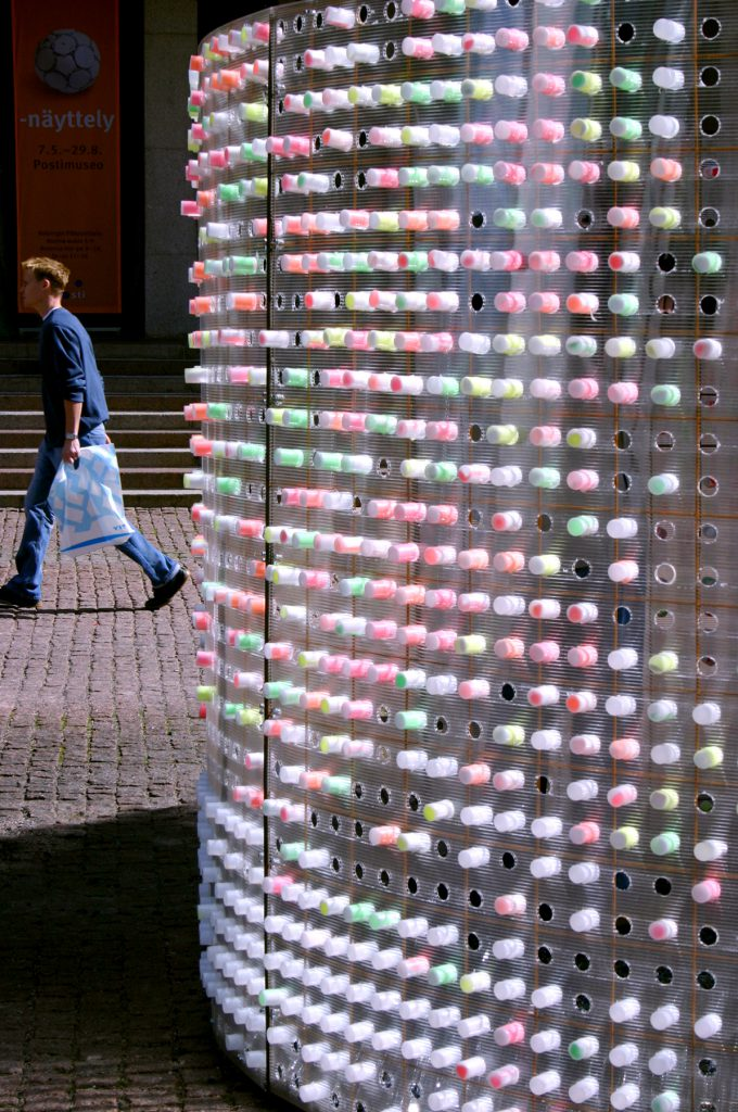 Hub public art installation in Helsinki with messages of citizens