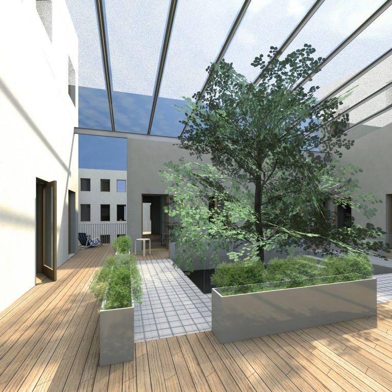 Lo-fi architecture flexible courtyard type housing interior