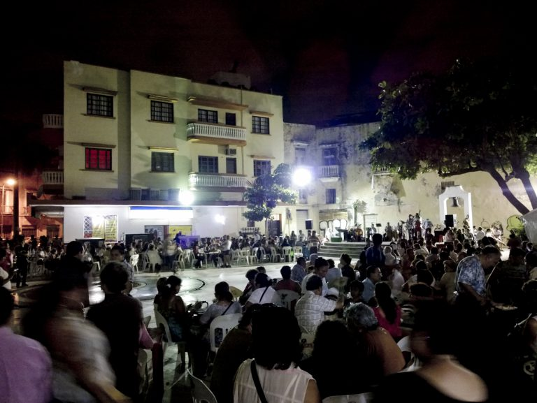 A music and dance event on the Plazuela square in Veracruz, Mexico.