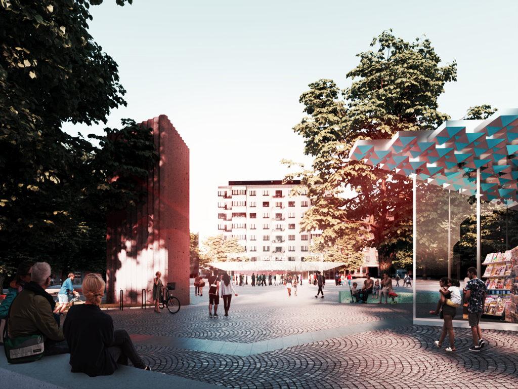 Töölöntori ideakilpailu näkymäkuva competition proposal view by Ilkka Törmä and Otto Autio