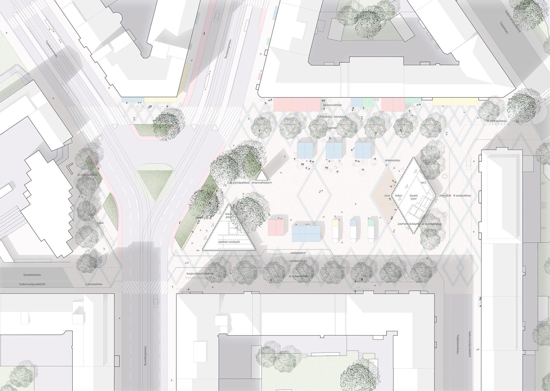 Töölöntorin ideakilpailu asemapiirros competition site plan of the redesigned square
